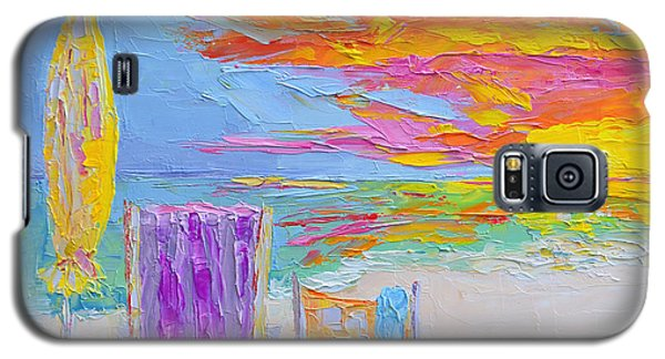No Need For An Umbrella - Sunset At The Beach - Modern Impressionist Knife Palette Oil Painting Galaxy S5 Case