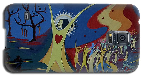 Galaxy S5 Case featuring the painting No War by Vilas Malankar