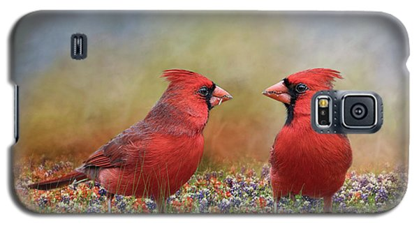 Galaxy S5 Case featuring the photograph Northern Cardinals In Sea Of Flowers by Bonnie Barry