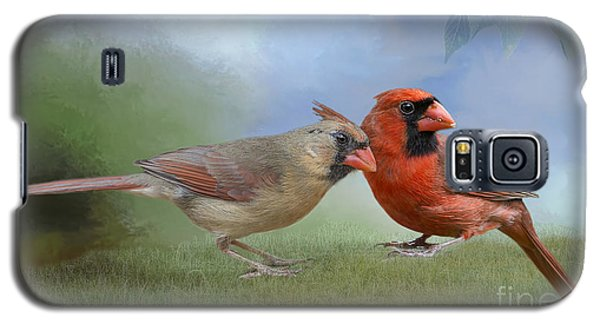 Galaxy S5 Case featuring the photograph Northern Cardinals On A Spring Day by Bonnie Barry