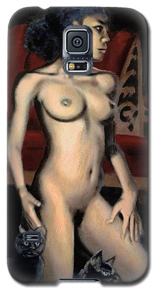 Nude Female Woman Kneeling With Cats Galaxy S5 Case