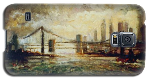 Galaxy S5 Case featuring the painting Nyc Harbor by Walter Casaravilla