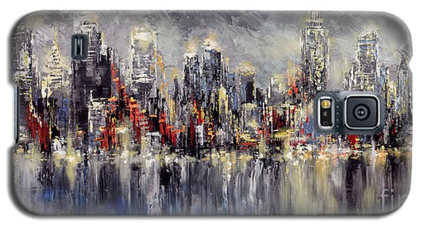Galaxy S5 Case featuring the painting Nyc Lights by Tatiana Iliina