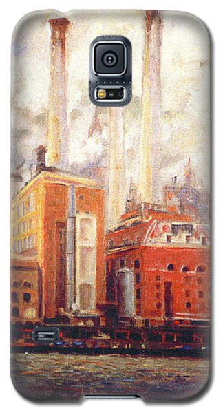 Galaxy S5 Case featuring the painting Nyc- View From East River  by Walter Casaravilla