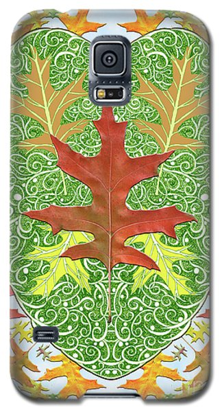 Galaxy S5 Case featuring the digital art Oak Leaf In A Heart by Lise Winne