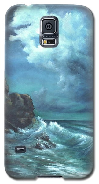 Galaxy S5 Case featuring the painting Seascape And Moonlight An Ocean Scene by Luczay