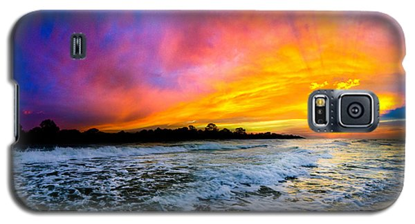 Galaxy S5 Case featuring the photograph Ocean Sunset Landscape Photography Red Blue Sunset by Eszra Tanner