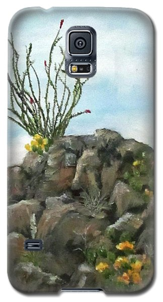 Galaxy S5 Case featuring the painting Ocotillo In Bloom by Roseann Gilmore