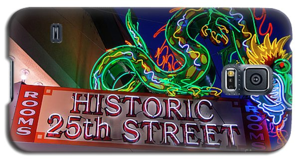 Galaxy S5 Case featuring the photograph Ogden's Historic 25th Street Neon Dragon Sign by Gary Whitton