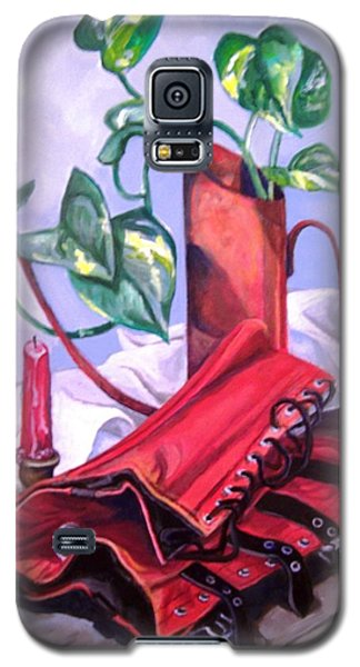 Galaxy S5 Case featuring the painting Oil Can And Corset by Laura Aceto