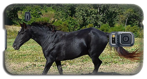 Galaxy S5 Case featuring the digital art Old Black Horse Running by Jana Russon