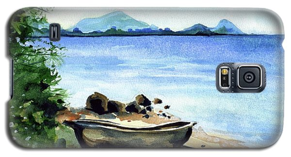 Galaxy S5 Case featuring the painting Old Carved Boat At Lake Malawi by Dora Hathazi Mendes