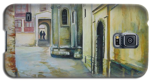Galaxy S5 Case featuring the painting Old Courtyard by Elena Oleniuc
