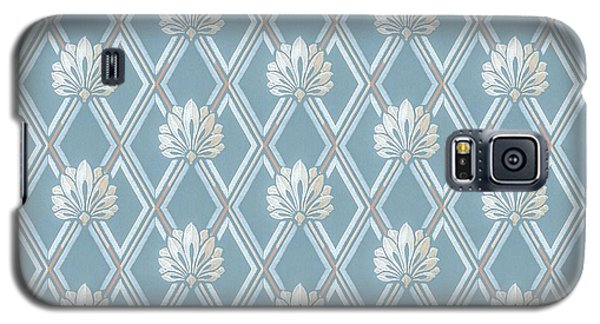 Galaxy S5 Case featuring the digital art Old Fashioned Blue Lattice Fan Wallpaper Pattern by Tracie Kaska