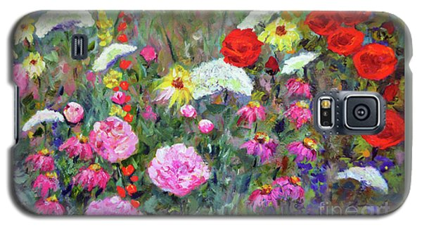 Galaxy S5 Case featuring the painting Old Fashioned Garden by Claire Bull
