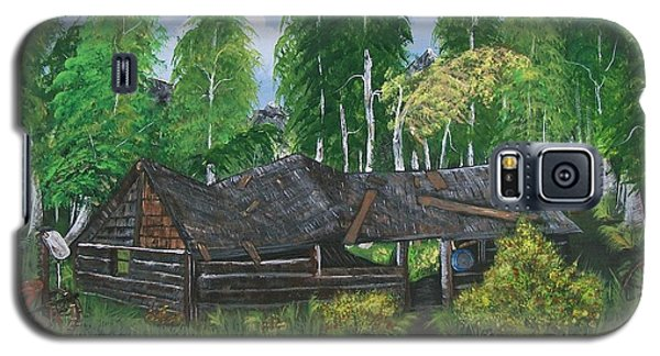Galaxy S5 Case featuring the painting Old Log Cabin And   Memories by Sharon Duguay
