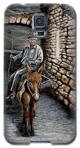 Galaxy S5 Case featuring the painting Old Man On A Donkey by Judy Kirouac