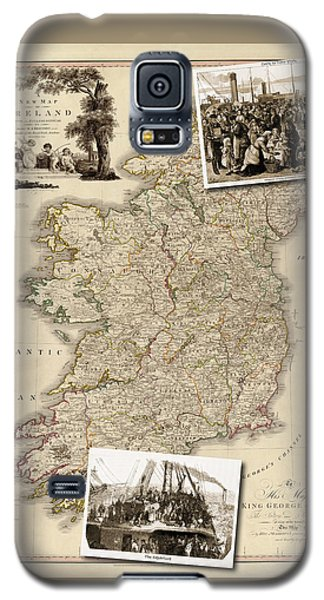 Vintage Map Of Ireland With Old Irish Woodcuts Galaxy S5 Case