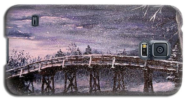Galaxy S5 Case featuring the painting Old North Bridge In Winter by Jack Skinner
