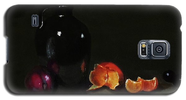 Galaxy S5 Case featuring the painting Old Sake Jug And Fruit by Barry Williamson