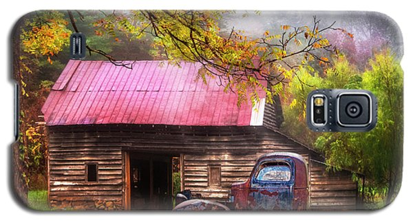 Galaxy S5 Case featuring the photograph Old Smoky Truck And Barn by Debra and Dave Vanderlaan