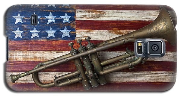 Music Galaxy S5 Case - Old Trumpet On American Flag by Garry Gay