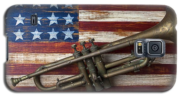 Trumpet Galaxy S5 Case - Old Trumpet On American Flag by Garry Gay