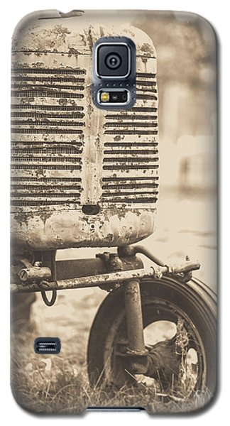 Galaxy S5 Case featuring the photograph Old Vintage Tractor Brown Toned by Edward Fielding