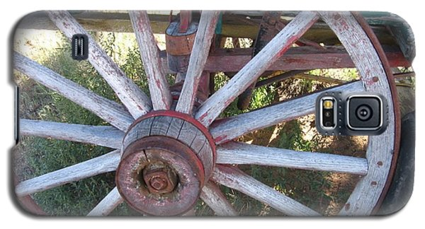 Galaxy S5 Case featuring the photograph Old Wagon Wheel by Dora Sofia Caputo Photographic Art and Design
