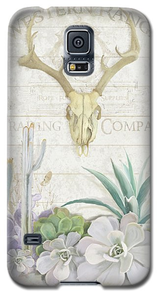 Old West Cactus Garden W Deer Skull N Succulents Over Wood Galaxy S5 Case by Audrey Jeanne Roberts