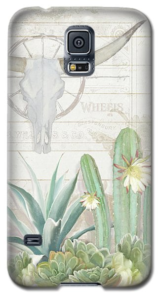 Old West Cactus Garden W Longhorn Cow Skull N Succulents Over Wood Galaxy S5 Case by Audrey Jeanne Roberts