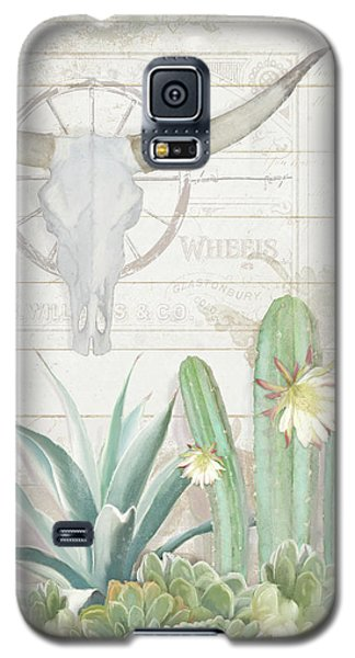 Old West Cactus Garden W Longhorn Cow Skull N Succulents Over Wood Galaxy S5 Case