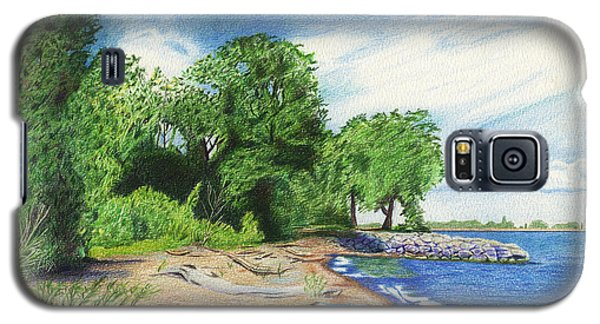Galaxy S5 Case featuring the drawing Old Woman Creek - Huron Ohio by Shawna Rowe