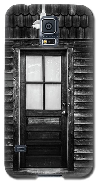 Galaxy S5 Case featuring the photograph Old Wood Door And Light Black And White by Terry DeLuco