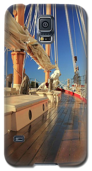 Galaxy S5 Case featuring the photograph On Deck Of The Schooner Eastwind by Roupen  Baker