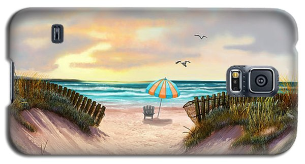 Galaxy S5 Case featuring the painting On The Beach by Sena Wilson