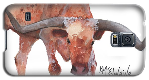 On The Level Texas Longhorn Watercolor Painting By Kmcelwaine Galaxy S5 Case