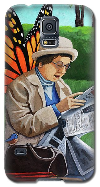Galaxy S5 Case featuring the painting On Vacation -butterfly Angel Painting by Linda Apple