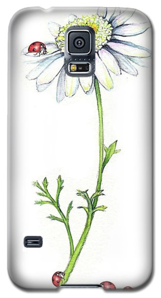 Galaxy S5 Case featuring the painting One Daisy And Four Ladybugs by Heidi Kriel