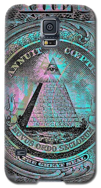 Galaxy S5 Case featuring the digital art One-dollar-bill - $1 - Reverse Side by Jean luc Comperat