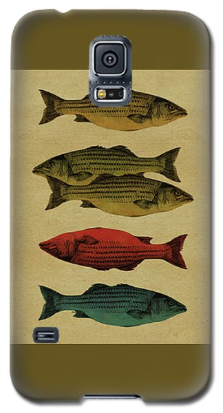 Galaxy S5 Case featuring the drawing One Fish, Two Fish . . . by Meg Shearer
