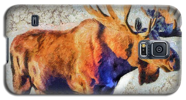 Galaxy S5 Case featuring the painting One Handsome Moose by Elaine Ossipov