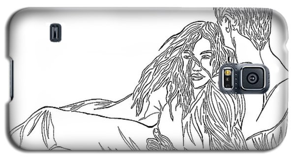 Galaxy S5 Case featuring the mixed media One Line Drawing Lovers On The Beach by Vicki  Housel