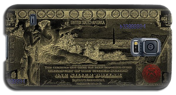 Galaxy S5 Case featuring the digital art One U.s. Dollar Bill - 1896 Educational Series In Gold On Black  by Serge Averbukh