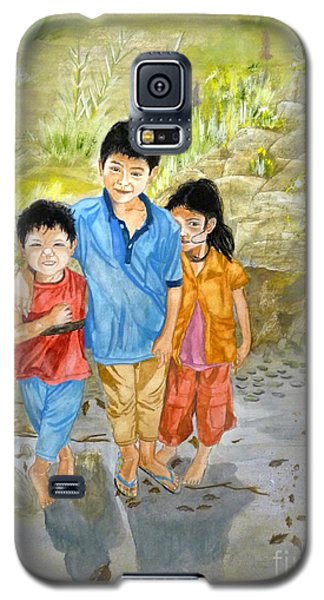Galaxy S5 Case featuring the painting Onion Farm Children Bali Indonesia by Melly Terpening