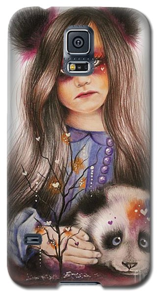Galaxy S5 Case featuring the drawing Only Friend In The World - Panda Precious by Sheena Pike