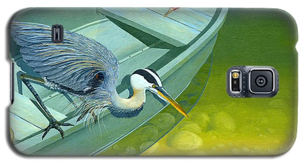 Galaxy S5 Case featuring the painting Opportunity-the Great Blue Heron by Gary Giacomelli