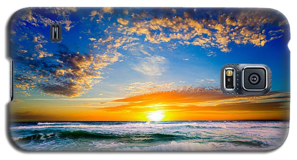 Orange And Blue Sunset Sun Setting Over The Ocean Galaxy S5 Case