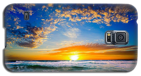 Galaxy S5 Case featuring the photograph Orange And Blue Sunset Sun Setting Over The Ocean by Eszra Tanner