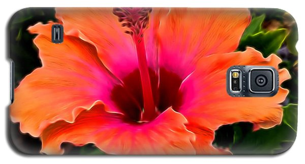 Orange And Pink Hibiscus 2 Galaxy S5 Case